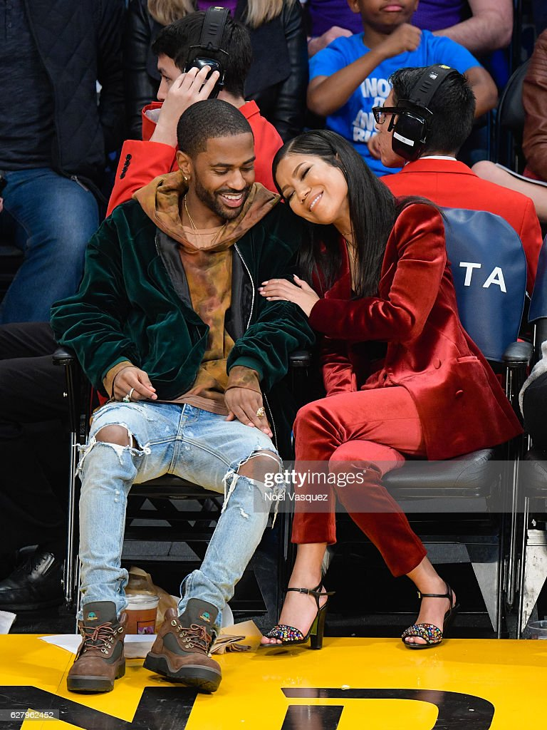 Big Sean (L) and Jhene Aiko attend a basketball game between Utah Jazz and the Los Angeles Lakers at Staples Center on December 5, 2016 in Los Angeles, California.