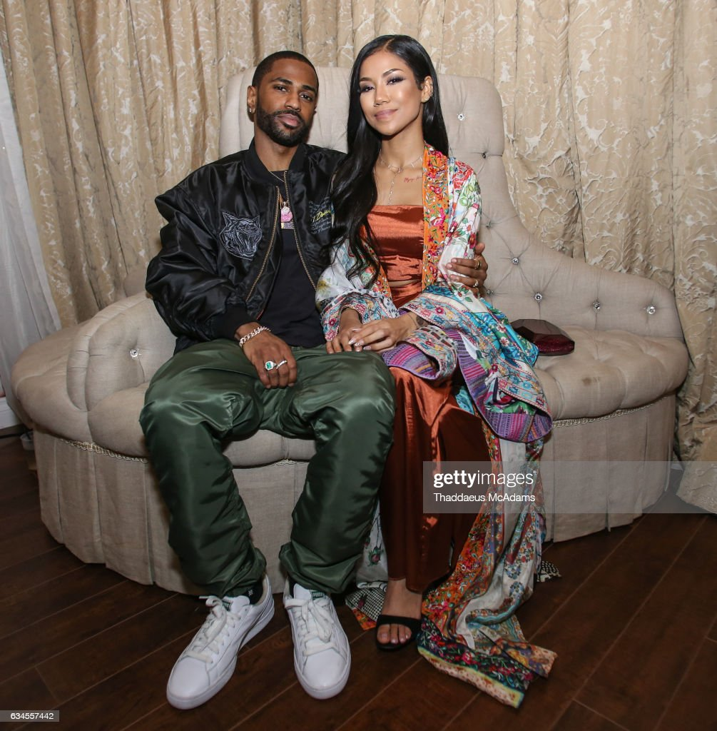 Big Sean and Jhene Aiko pose for a picture backstage at The MacArthur on February 9, 2017 in Los Angeles, California.