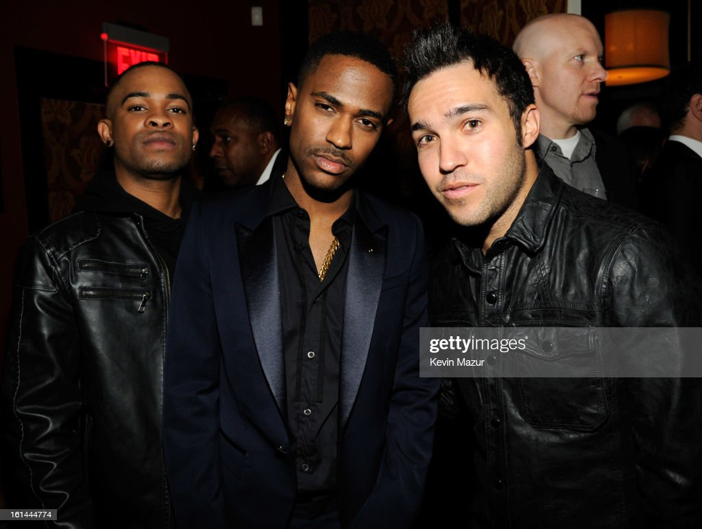 Big Sean and Pete Wentz attend the Island Def Jam Grammy Party Sponsored By Samsung And Pepsi at Osteria Mozza on February 10, 2013 in Los Angeles, California.