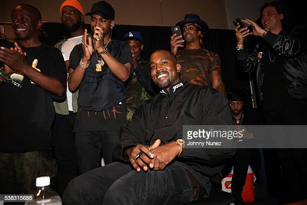 Big Sean Kanye West and Jonathan Cheban backstage at Hot 97's Summer Jam 2016 at MetLife Stadium on June 5 2016 in East Rutherford New Jersey