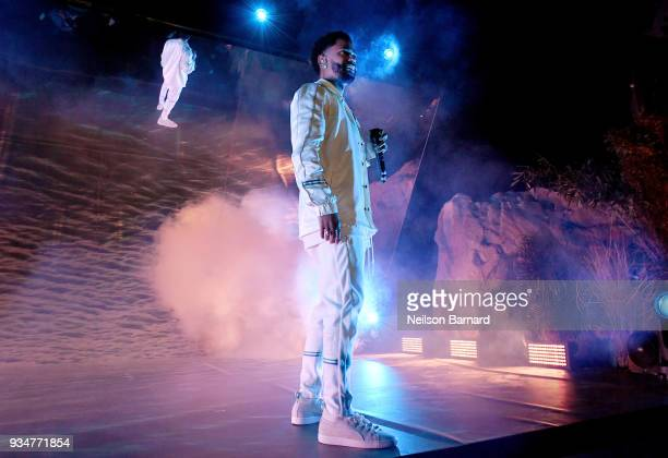 Big Sean performs onstage at PUMA x Big Sean Collection Launch Event at Goya Studios on March 19 2018 in Los Angeles California