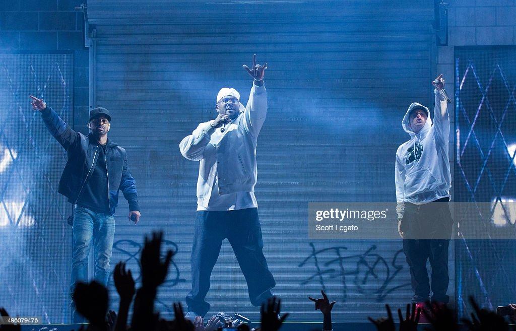 Big Sean, Trick Trick and Eminem perform in their hometown of Detroit at Joe Louis Arena on November 6, 2015 in Detroit, Michigan.