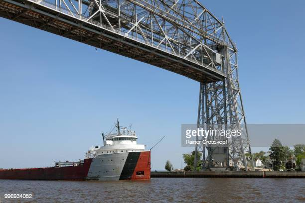 Big ship passing the aerial lift bridge in Duluth