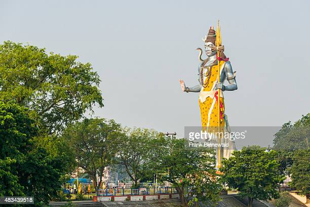 Big Shiva statue is erected near Harki Pauri Ghat at the holy river Ganges.