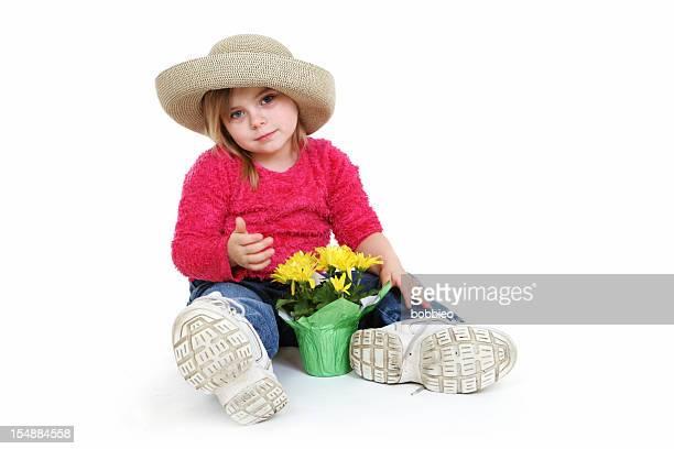 Big Shoe Children: Little girl with flower pot