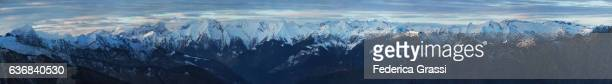 Big Size Panoramic View Of The Lepontine And Bernese Alps In December