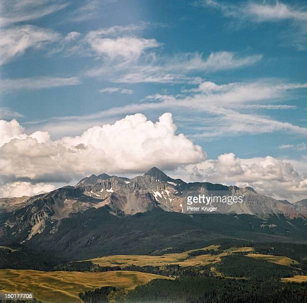 big sky above mount wilson in colorado - mt wilson colorado stock photos and pictures