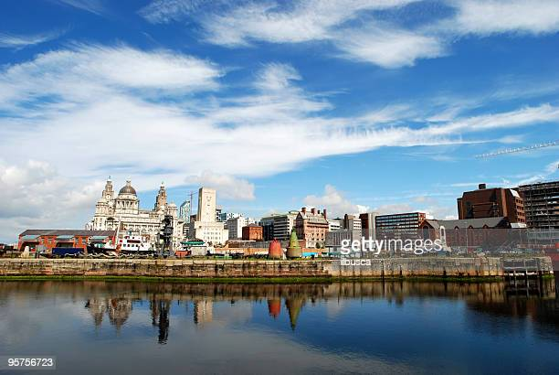 Big sky over wide angle Liver Building in Liverpool