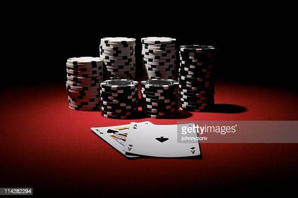 big slick and chips... - poker stock photos and pictures