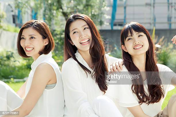 big smile of three young women - three people ストックフォトと画像