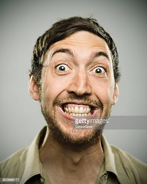 big smile. - stralende lach stockfoto's en -beelden