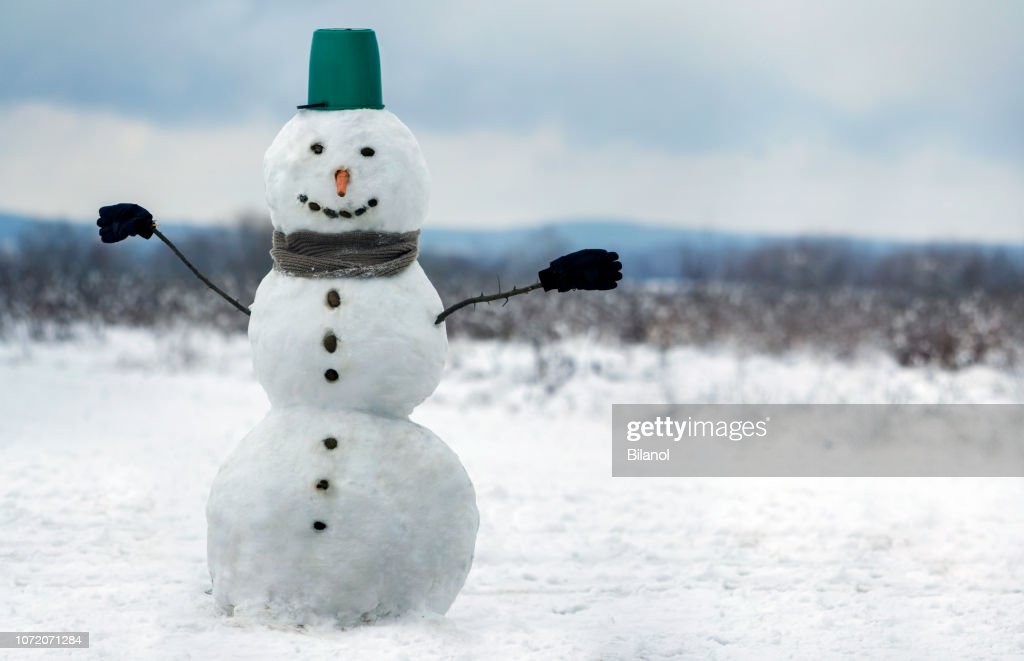 Big smiling snowman with bucket hat, scarf and gloves on white snowy field winter landscape, blurred black trees and blue sky copy space background. . Merry Christmas and happy new year greeting card. : Stock Photo