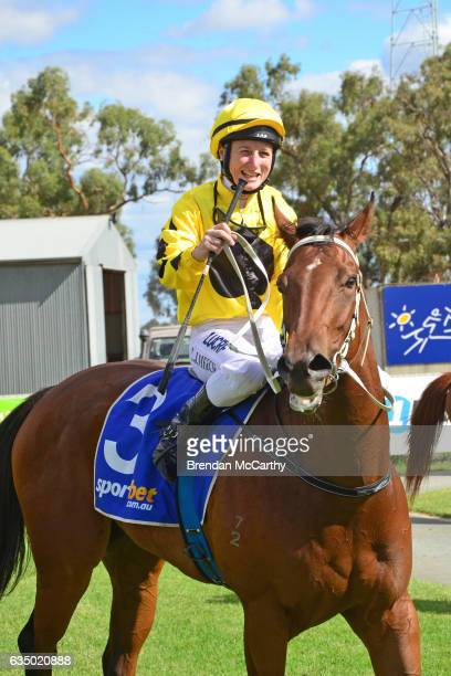Big Spender ridden by Linda Meech returns to the mounting yard after winning Echuca Newsagency BM58 Handicap at Echuca Racecourse on February 13 2017...