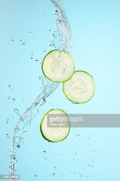 Big Splash of water and cucumber slices