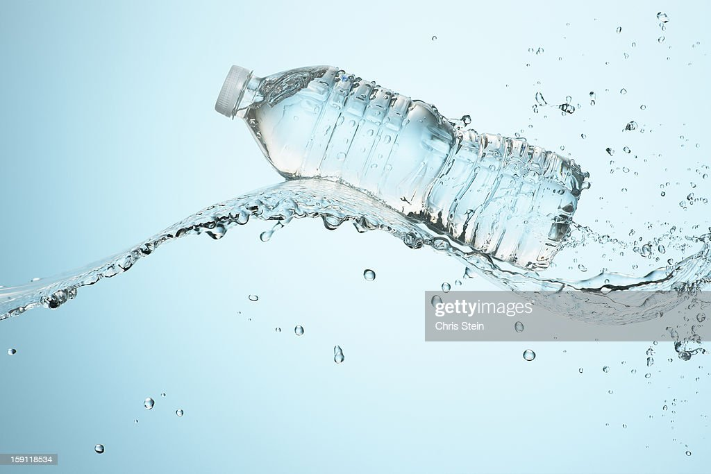 Big Splash with Water Bottle : Stock Photo