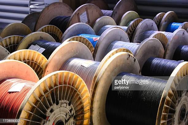 big spool of optic wire - cable stock pictures, royalty-free photos & images