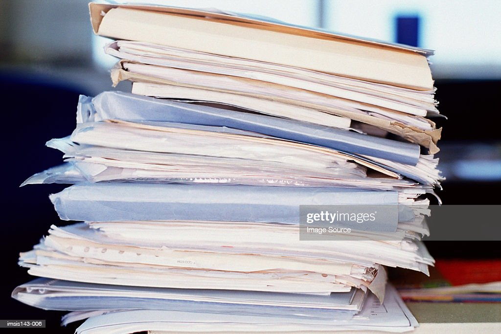 Big stack of assorted papers : Stock Photo
