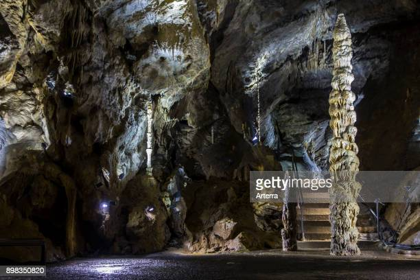 Big stalagmite and stalactites in the Caves of HansurLesse / Grottes de Han Belgian Ardennes Belgium