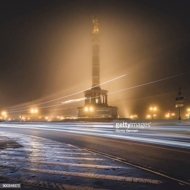 Big star and Victory Column in the fog, Berlin, Germany
