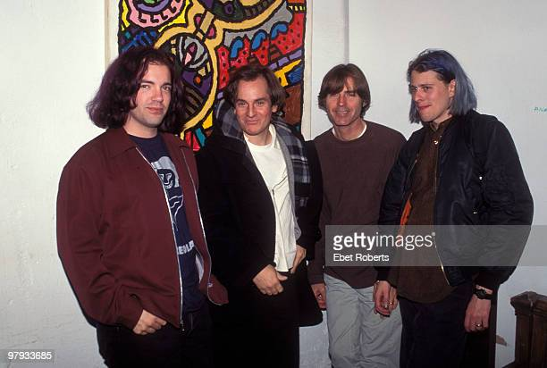 NEW YORK NOVEMBER 08 Big Star posed backstage at Tramps in New York City on November 08 1995 LR Jon Auer Alex Chilton Jody Stephens Ken Stringfellow