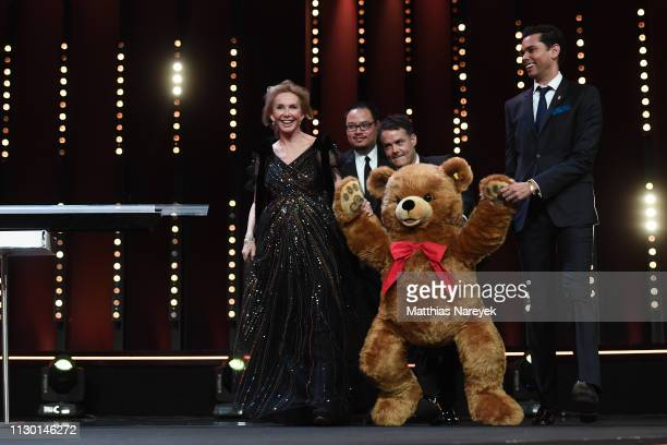 A big stuffed bear is seen on stage with jury members Trudie Styler Justin Chang Sebastián Lelio and Rajendra Roy at the closing ceremony of the 69th...