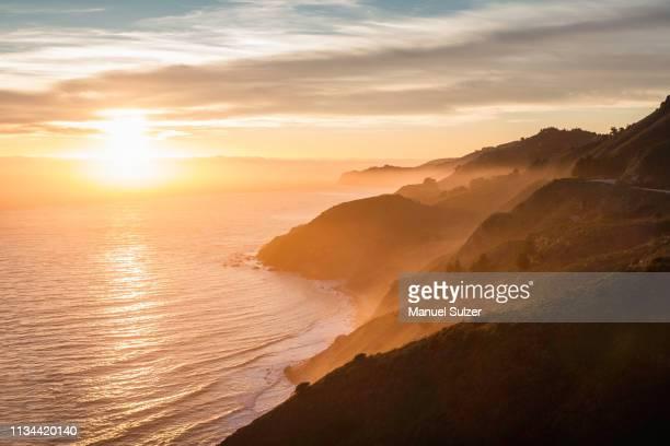 big sur national park at sunset, california, usa - big sur stock photos and pictures