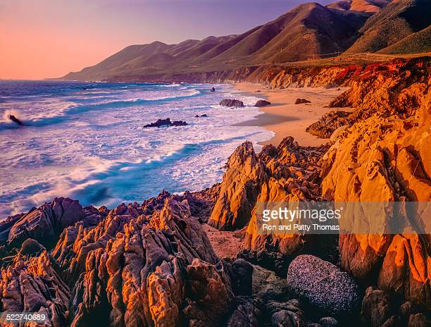 Big Sur sunset seascape of California coastline,rocky,beach (P)