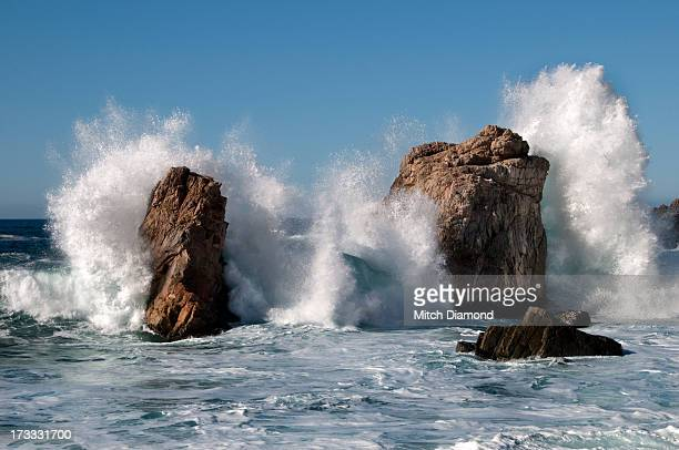 Big Sur waves crashing into rocky shore