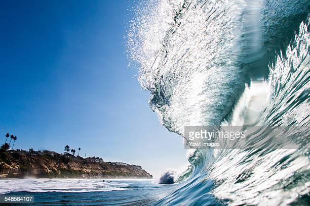 big surfing ocean wave, encinitas, california, usa - tsunami stock pictures, royalty-free photos & images