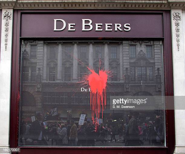CONTENT] A big symbolic red paintball is splattered on a window at De Beers the diamond seller The supposed significance is the controversial...