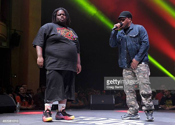 Big T and Sway Calloway perform at Total Slaughter hosted by Shady Films and WatchLOUDcom at Hammerstein Ballroom on July 12 2014 in New York City