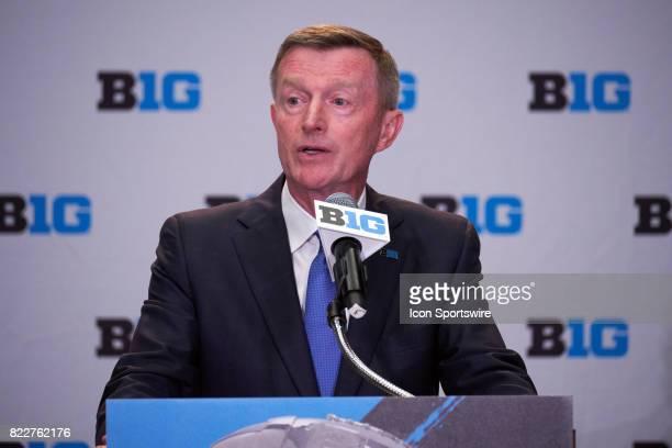 Big Ten Coordinator of Football Bill Carollo takes questions during the Big 10 Football Media Days on July 25 2017 at Hyatt Regency McCormick Place...