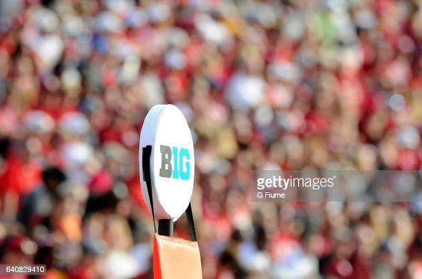 Big Ten logo on the yardage marker during the game between the Maryland Terrapins and the Indiana Hoosiers at Memorial Stadium on October 29 2016 in...