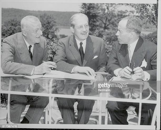 Big Three Envoys Meet Riverdale Long Island New York Meeting at Riverdale June 16 are left to right US Secretary of State John Foster Dulles British...