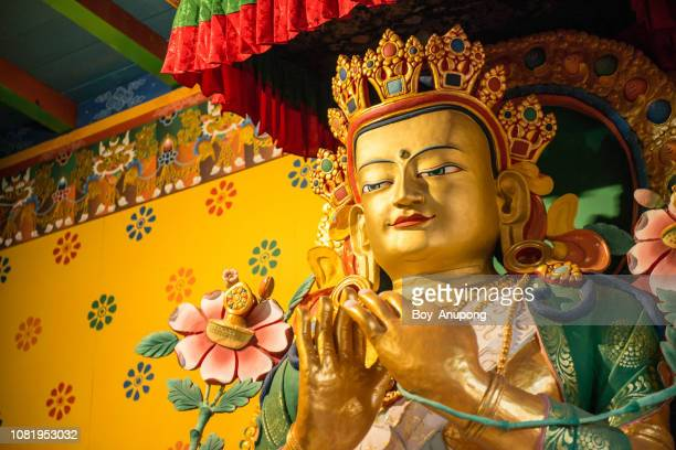 big tibetan buddha statue in khumjung monastery, nepal. - tibetan culture stock pictures, royalty-free photos & images