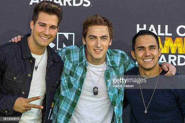 Big Time Rush arrives at the 3rd Annual Cartoon Network's 'Hall Of Game' Awards held at Barker Hangar on February 9 2013 in Santa Monica California
