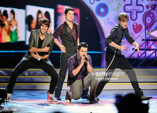 Big Time Rush perform onstage during Nickelodeon's 24th Annual Kids' Choice Awards at Galen Center on April 2 2011 in Los Angeles California