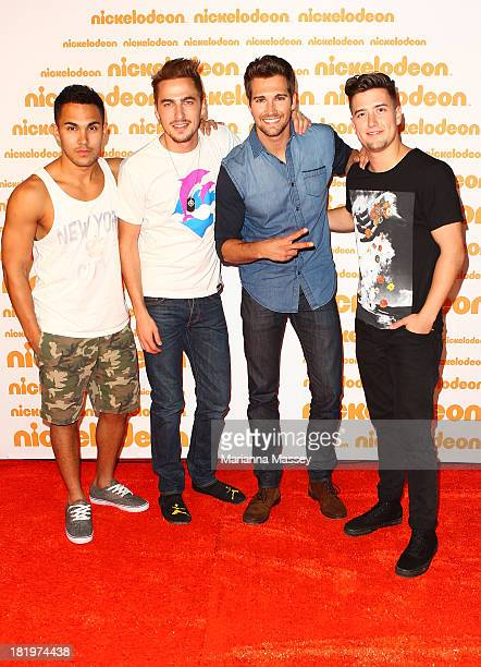 Big Time Rush pose on the media wall ahead of the Nickelodeon Slimefest 2013 matinee show at Sydney Olympic Park Sports Centre on September 27 2013...