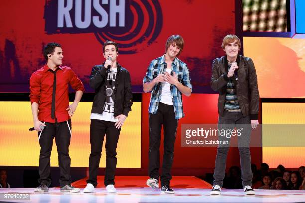 Big Time Rush stars Carlos Pena Logan Henderson James Maslow and Kendall Schmidt perform at the 2010 Nickelodeon Upfront Presentation at Hammerstein...
