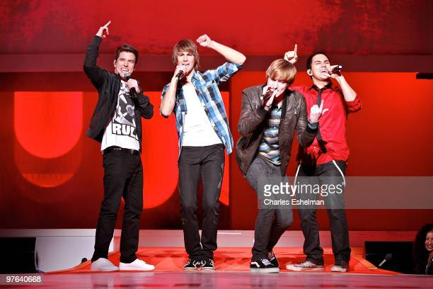 Big Time Rush stars Logan Henderson James Maslow Kendall Schmidt and Carlos Pena perform at the 2010 Nickelodeon Upfront Presentation at Hammerstein...