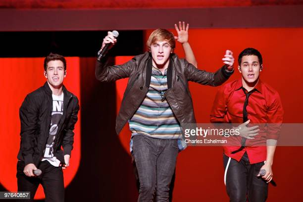 Big Time Rush stars Logan Henderson Kendall Schmidtand Carlos Pena perform at the 2010 Nickelodeon Upfront Presentation at Hammerstein Ballroom on...