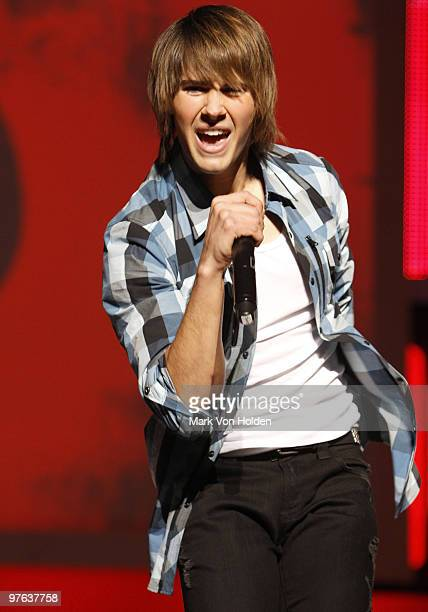 Big time Rush's James Maslow performs at the 2010 Nickelodeon Upfront Presentation at Hammerstein Ballroom on March 11 2010 in New York City