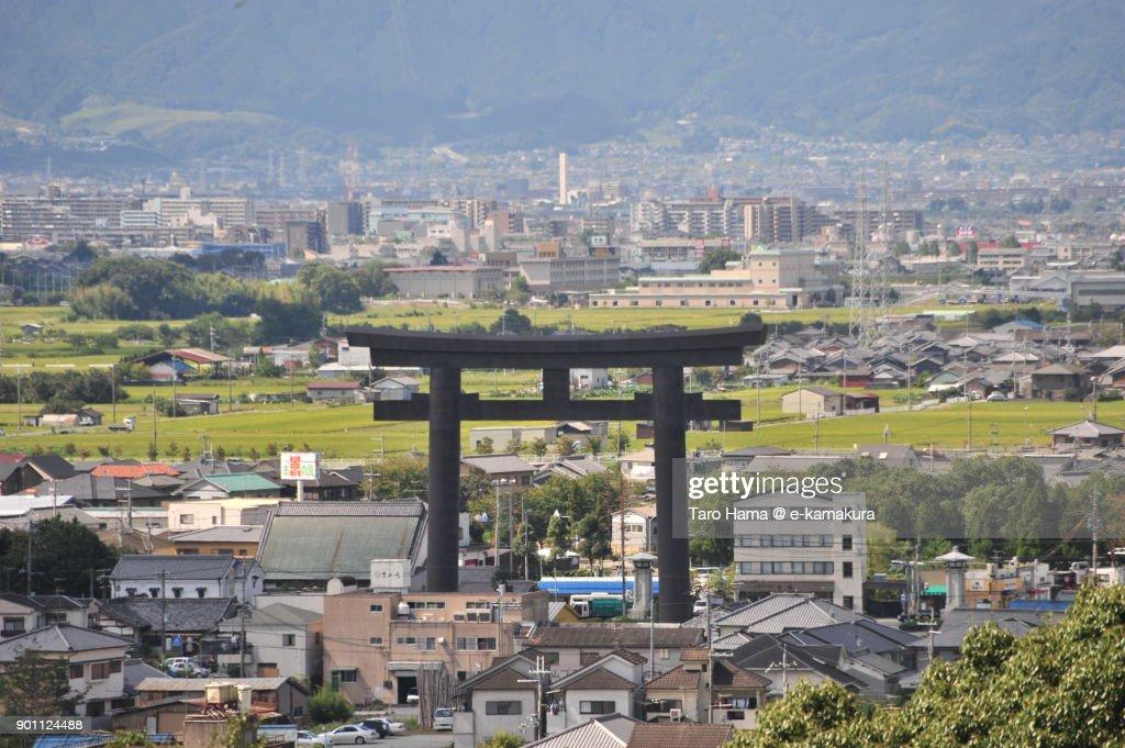 A big torii gate in Sakurai city in Nara prefecture in Japan : Stock Photo