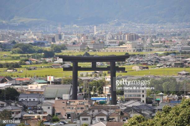 A big torii gate in Sakurai city in Nara prefecture in Japan