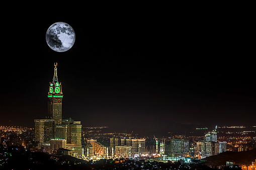 Big Tower with a Big Moon - gettyimageskorea