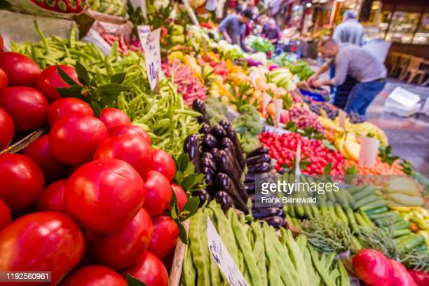 Big variety of different vegetables are offered for sale in the street market in the suburb Kad?köy, located on the Asian side of town.