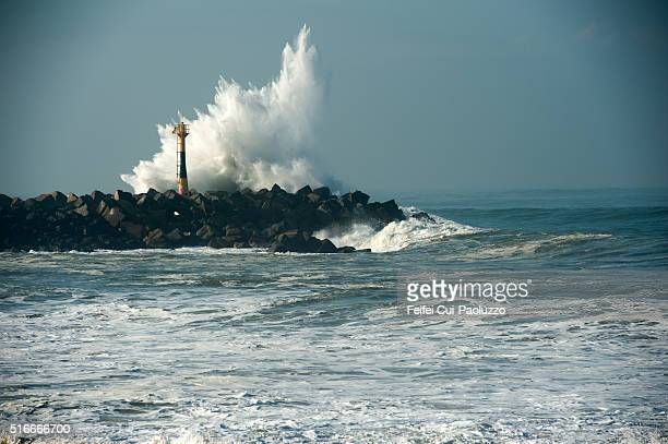 Big wave and Lighthouse of Anglet in the Pyrénées-Atlantiques department of southwestern France