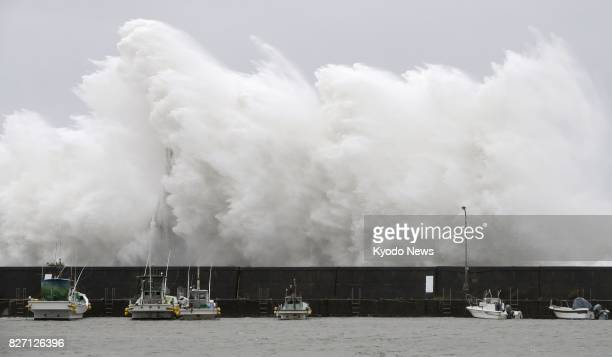 A big wave caused by Typhoon Noru crashes on a breakwater in Aki Kochi Prefecture western Japan on Aug 7 2017 ==Kyodo