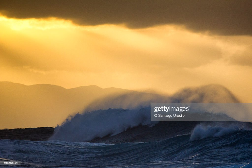 Big wave crashing with spray blowing up at sunset : Stock Photo