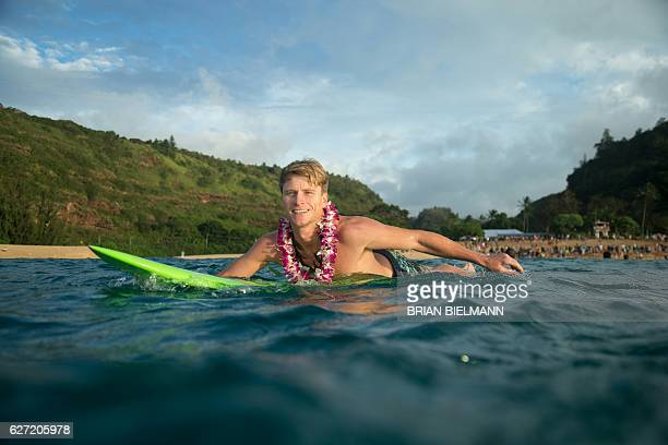 Big wave surfer Bruce Irons paddles out to perform a ceremony for the opening of the 2016 Quiksilver Eddie Aikau invitational big wave contest...